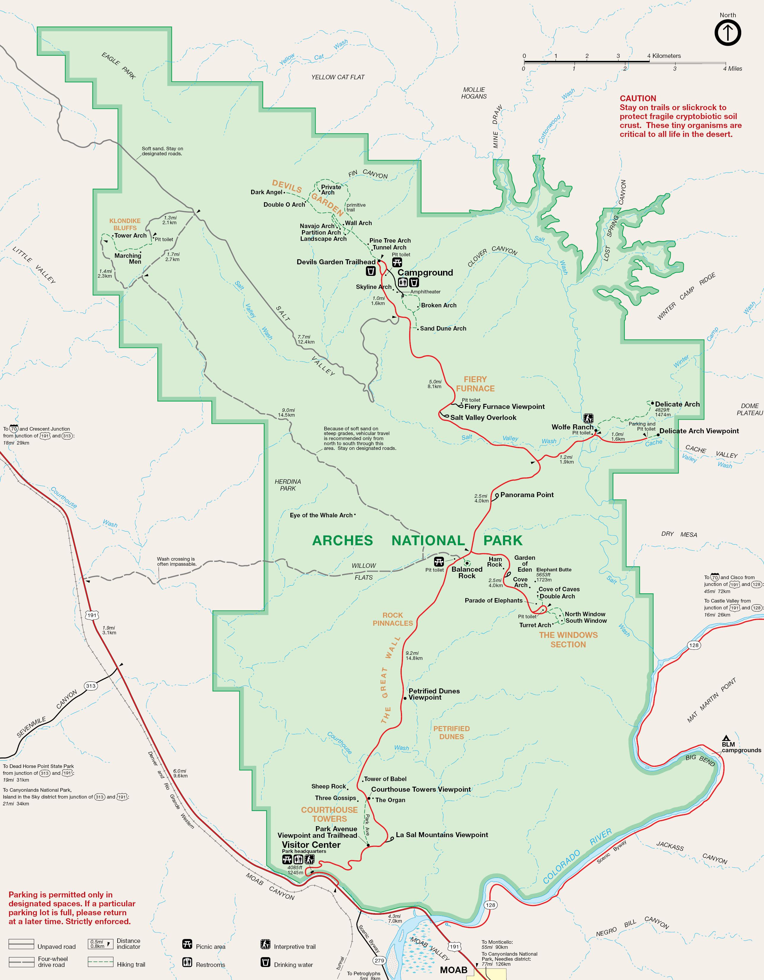 Carte Plan Arches National Park