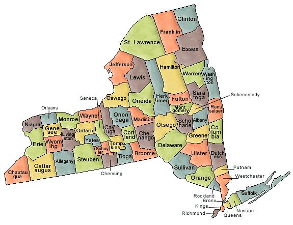 Carte Des Comtés New York