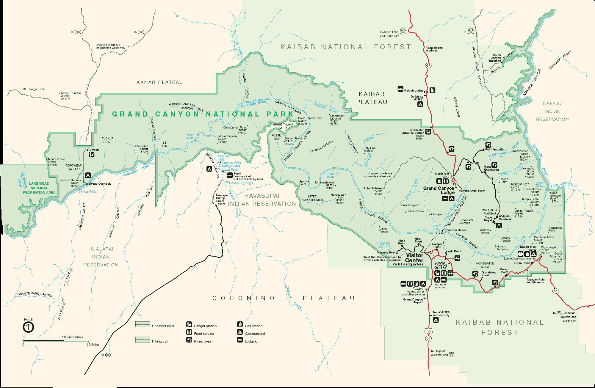Häufig Carte plan Grand Canyon National Park - Guide de voyage Usa Ouest  TP83
