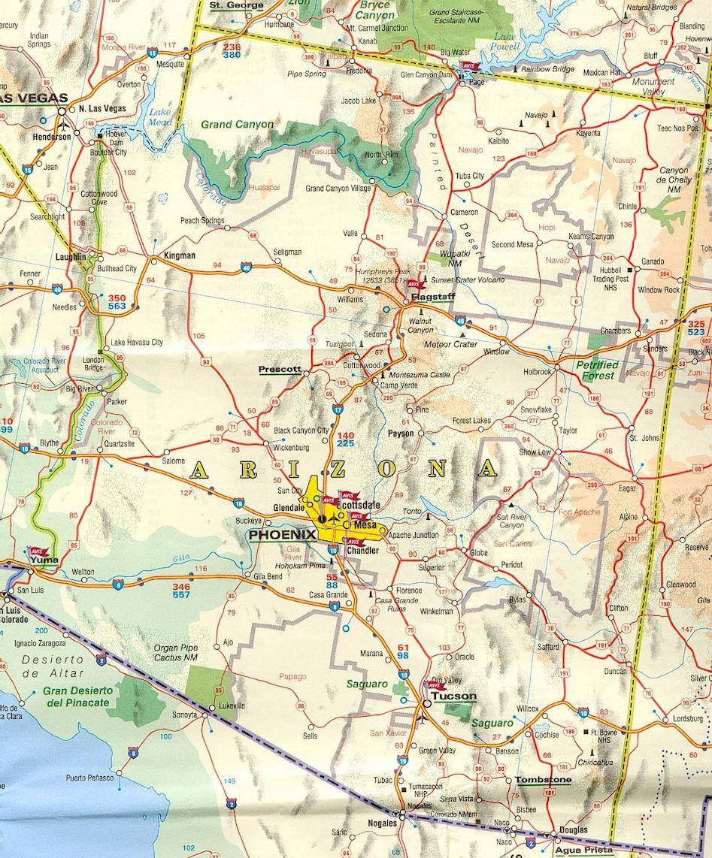 Carte routière Arizona   Guide de voyage Usa Ouest américain