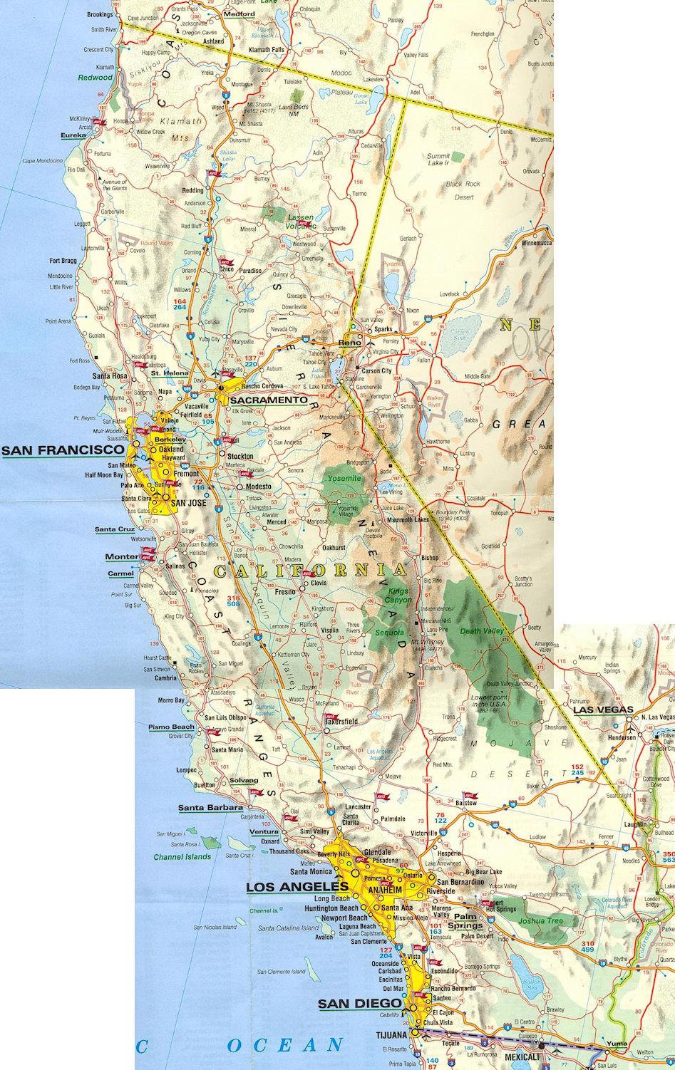 Carte routière Californie   Guide de voyage Usa Ouest américain