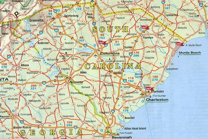caroline du sud carte Carte routière Caroline du Sud