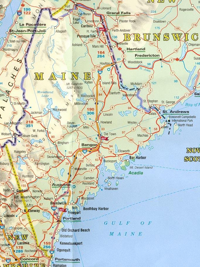 Carte Route Amerique.Carte Routiere Maine