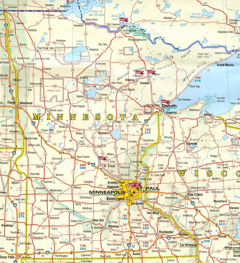 Carte routière Minnesota   Guide de voyage Usa Ouest américain