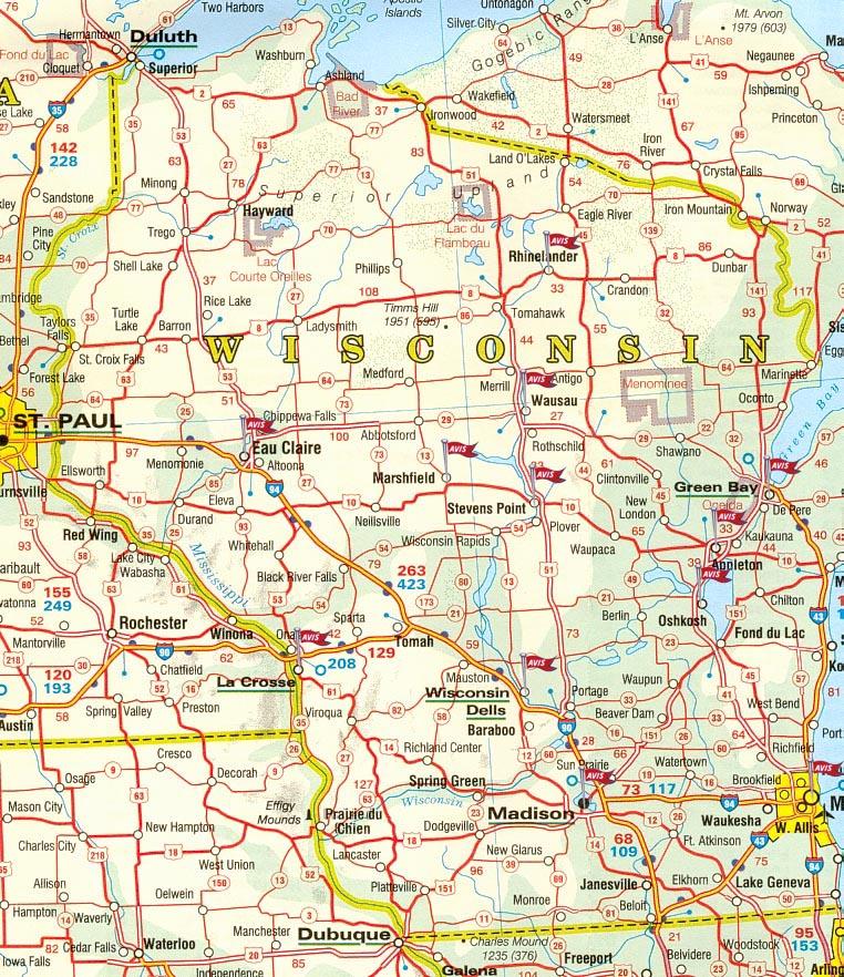 Carte Amerique Wisconsin.Carte Routiere Wisconsin