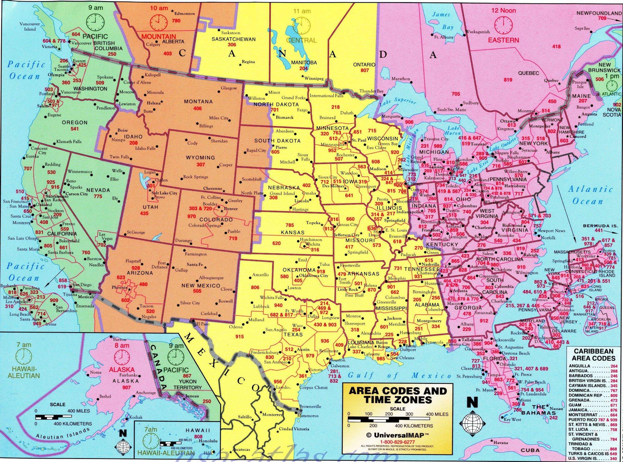 Carte Etats Unis Ouest.Carte Codes Telephone Usa Etats Unis