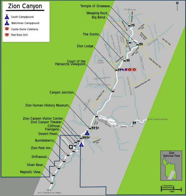 Carte des navettes Zion